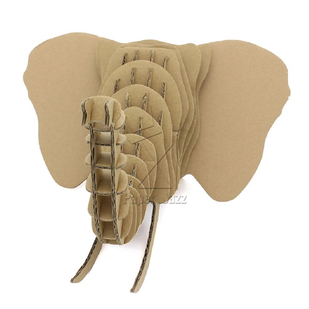 纸板动物手工制大象